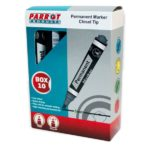 Parrot Chisel Tip Permanent Markers (Box of 10, Black)