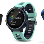 Garmin 010-01614-10 Forerunner 735XT Midnight And Frost Blue Tri-Bundle