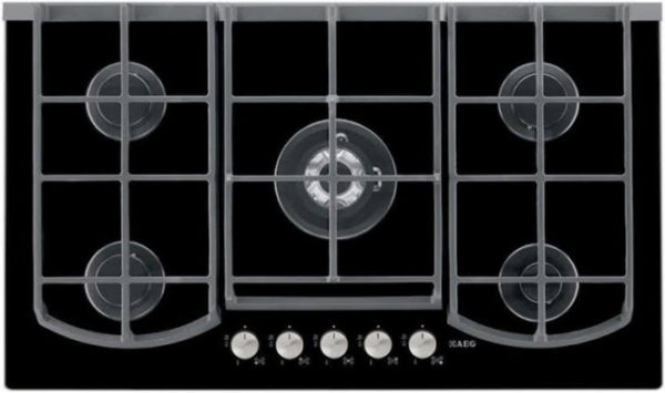 AEG HG995440NB 900mm Black 5 Burner Gas On Glass Hob