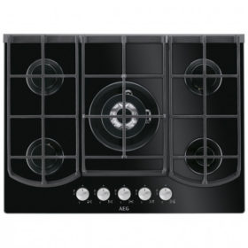 AEG HKB75540NB 750mm Black 5 Burner Gas On Glass Hob
